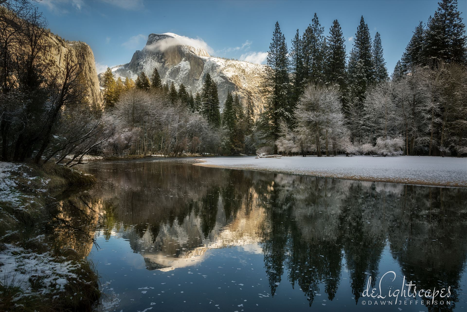 Reflecting on Half Dome in Winter - Yosemite National Park in winter is magical, especially when you can catch Half Dome reflecting so nicely on the Merced River. by Dawn Jefferson