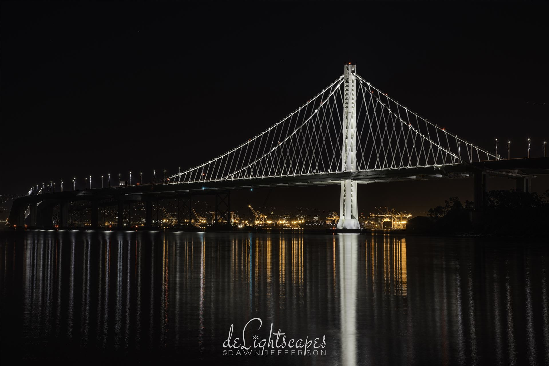 Color Guard - The Bay Bridge and the port of Oakland reflecting on the San Francisco bay. by Dawn Jefferson