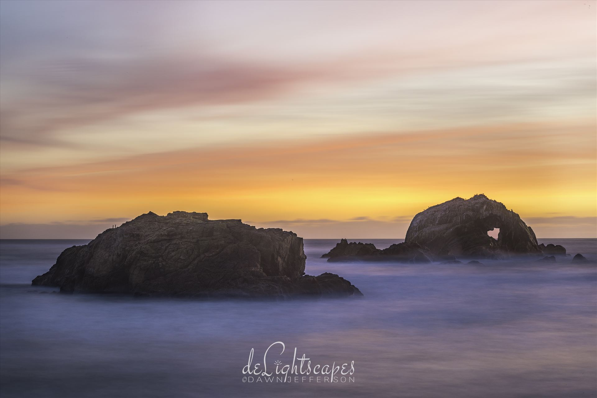 Between a Rock and a Heart Place - Soft sunset amongst the seastacks by Dawn Jefferson