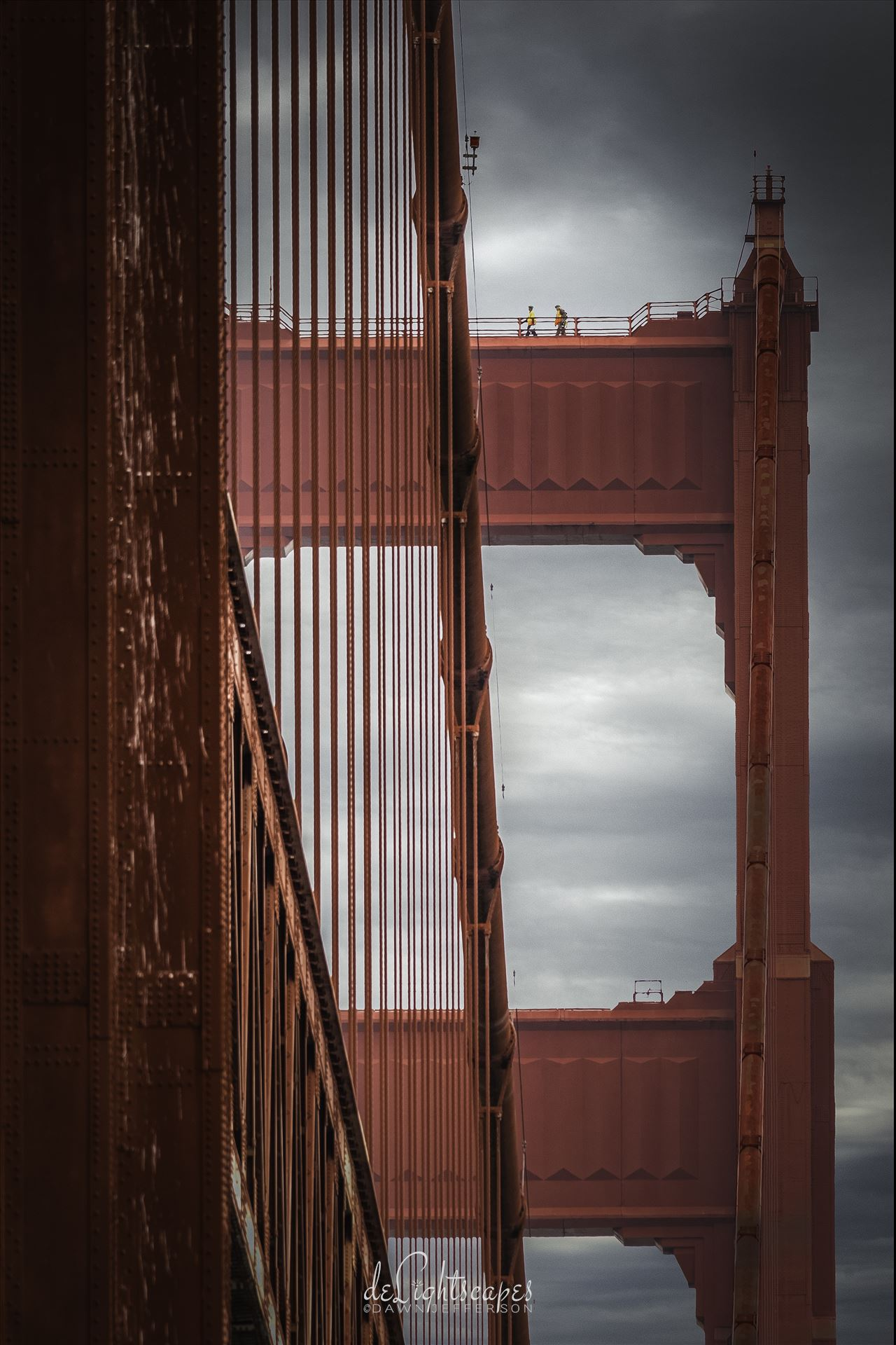 Hard Day's Work - Two workers on top of the Golden Gate Bridge by Dawn Jefferson