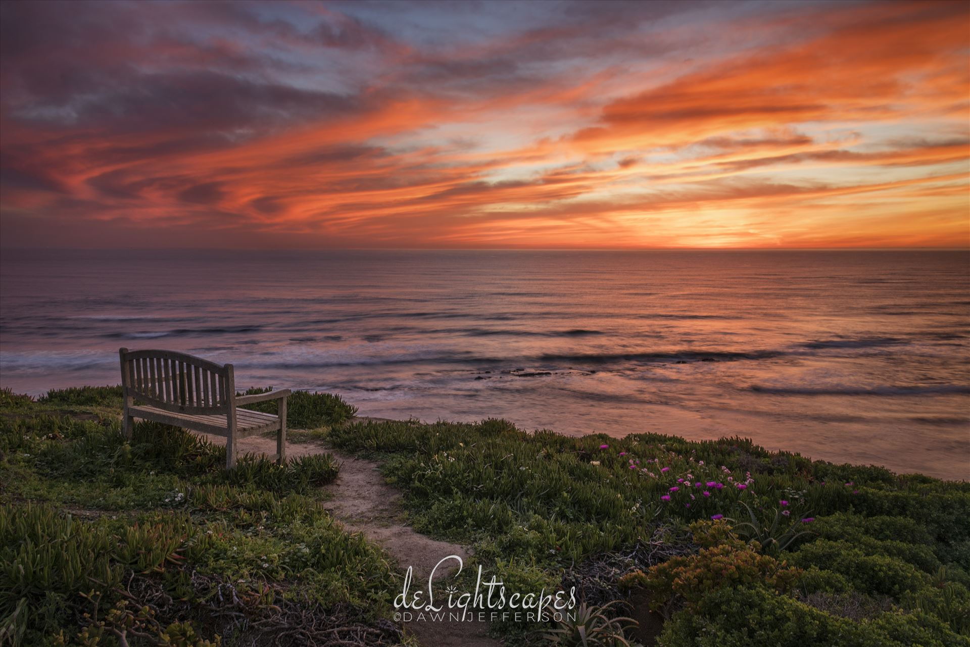 Sunset in Solitude - Fiery  sunset on the bluffs by Dawn Jefferson
