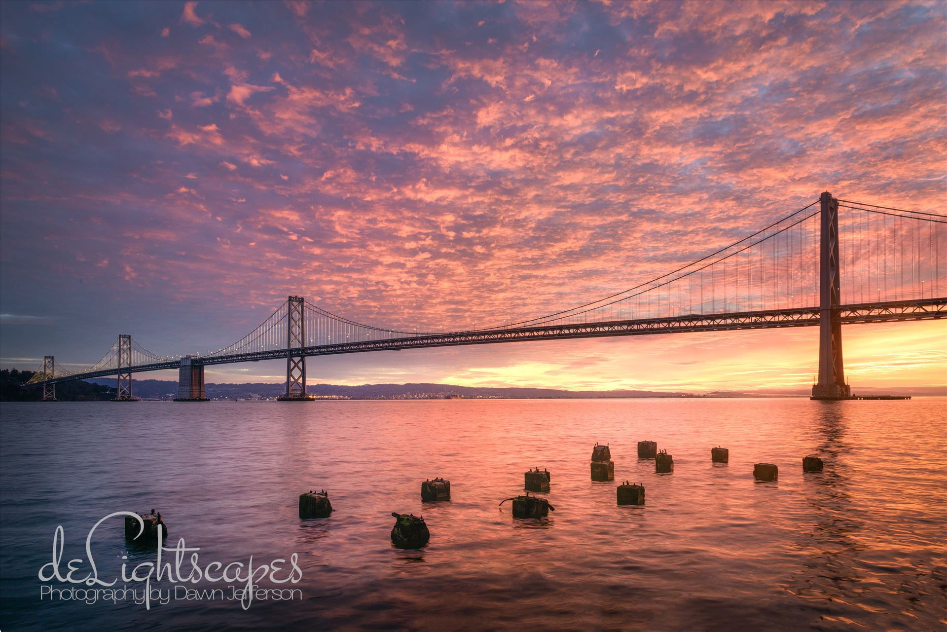 Cotton Candy Sunrise - A gorgeous pink sunrise at the San Francisco Bay Bridge by Dawn Jefferson