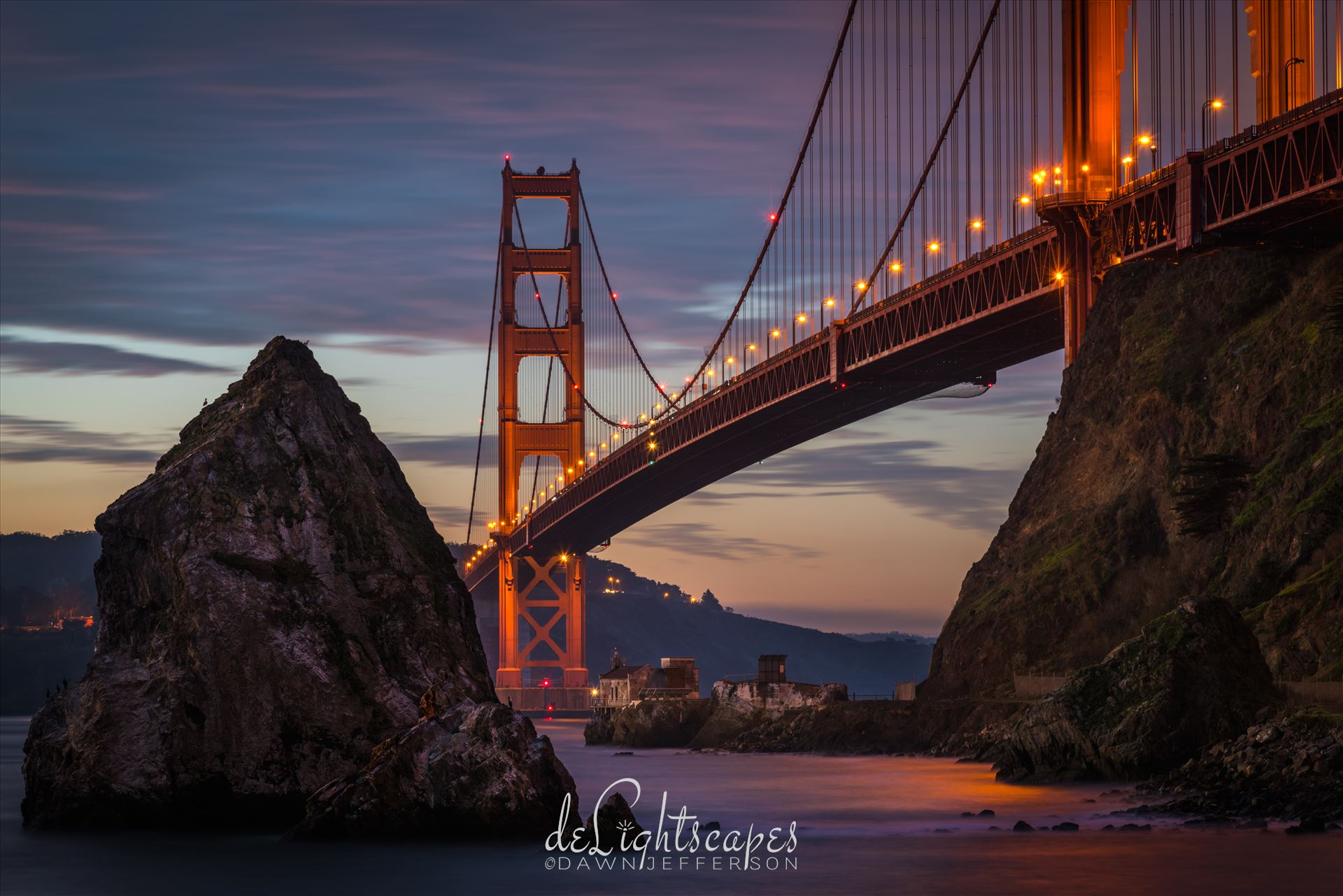 Twilight at the Golden Gate Bridge -  by Dawn Jefferson