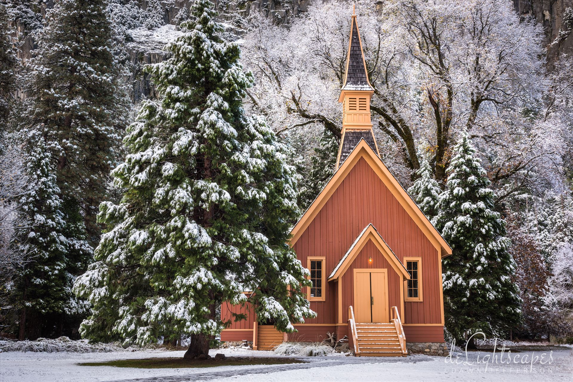The Little Yosemite Church in Winter -  by Dawn Jefferson