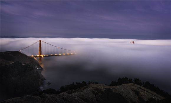 Twilight Fog - The low fog engulf the Golden Gate Bridge.